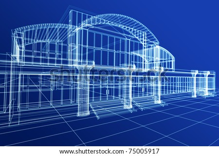 Abstract 3D sketch of office building on blue - stock photo