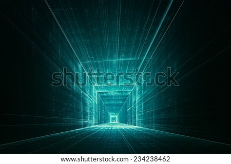 Abstract 3D tunnel - stock photo