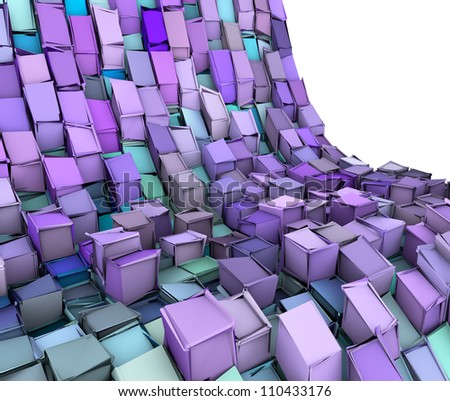 abstract 3d wave shape backdrop in blue purple - stock photo