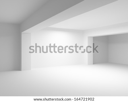Abstract 3d white architecture background. Empty room interior - stock photo