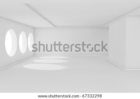 Abstract 3d white empty room with sunlight - stock photo