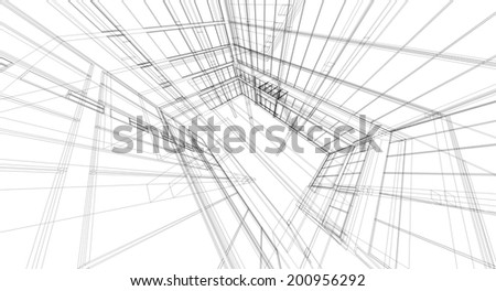 Abstract 3D wireframe of building.  - stock photo