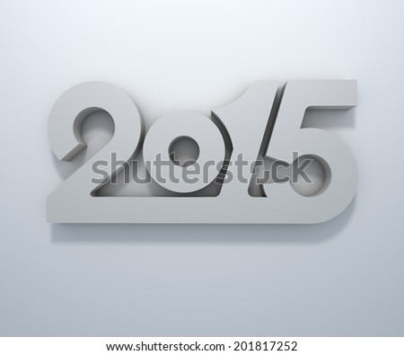 Abstract 3D 2015 year figures wall design. - stock photo