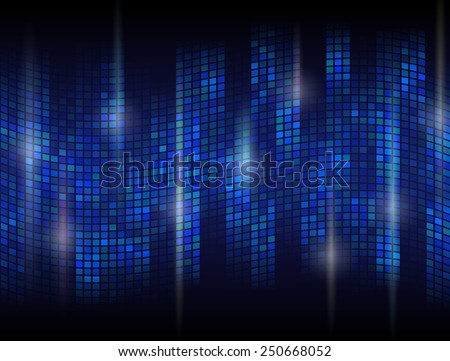 Abstract dark background with undulating mosaic. Tessellated wave with flare effects. Qualitative backdrop in blue colors