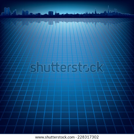 abstract dark blue background with silhouette of city - stock photo