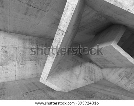 Abstract dark concrete interior with chaotic cubic structures. Architecture background, 3d illustration