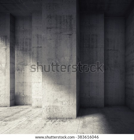 Abstract dark concrete interior with many corners. Modern architecture background, square 3d illustration
