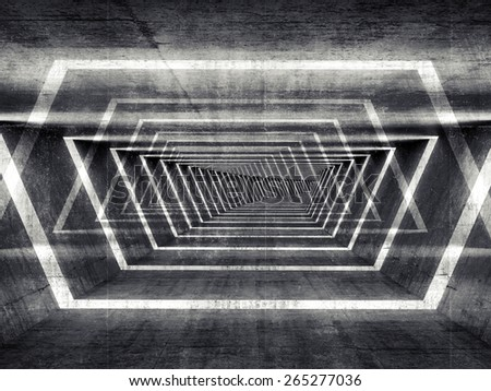 Abstract dark concrete surreal tunnel interior background, 3d illustration - stock photo