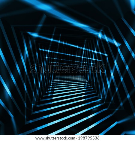 Abstract dark 3d interior background with blue night light beams - stock photo