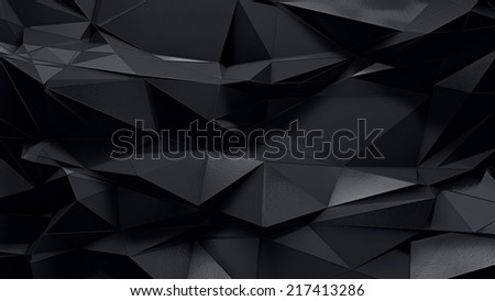 abstract dark 3d rendered geometric background with spikes  - stock photo