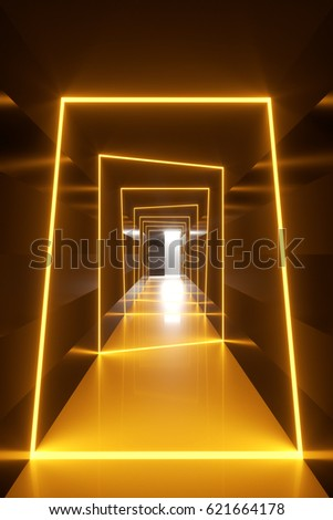 Abstract Dark Hallway Golden Orange Neon Stock Illustration ...