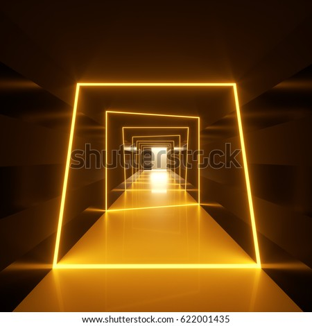 Abstract Dark Hallway Golden Orange Neon Stock