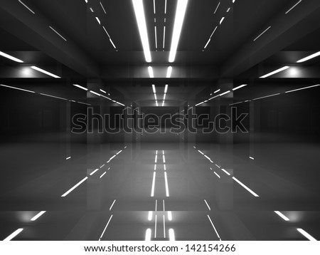 Abstract dark modern interior with shining black mirror walls and white neon lights - stock photo