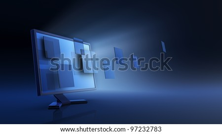 Abstract date transfering - stock photo
