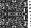 Abstract decoration, retro floral and geometric ornament, lace seamless pattern, ethnic background, hand-drawn sketch artwork, card design, raster version black and white - stock photo