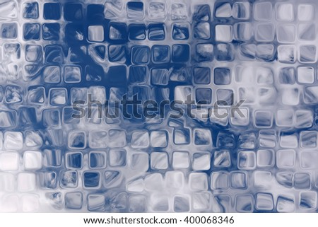 Abstract decorative background in blue and white colors with patterns of a variety of shapes, squares, wavy lines and spots