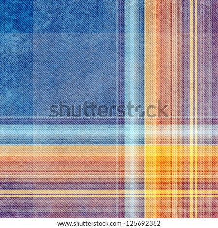 Abstract decorative blue, violet  and orange check texture - stock photo