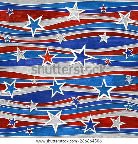 Abstract decorative paneling - Stars seamless pattern - USA Colors - Christmas pattern - stock photo