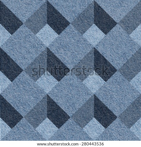 Abstract decorative tiles - seamless pattern - Blue denim jeans - stock photo