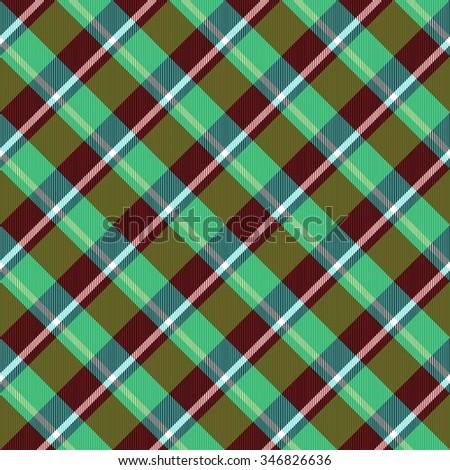Abstract deep green brown red checked crossover striped diagonally seamless pattern - stock photo