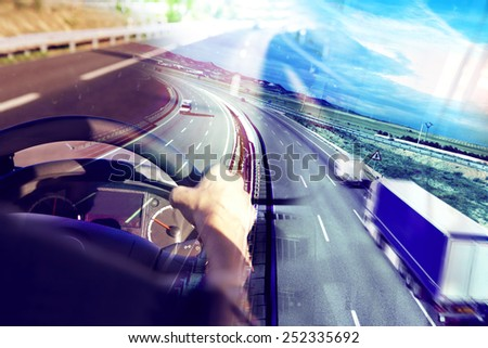Abstract design background Trucks and transport.Highway and delivering. - stock photo