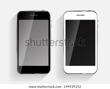 Abstract Design Black and White Mobile Phones.  Illustration - stock photo