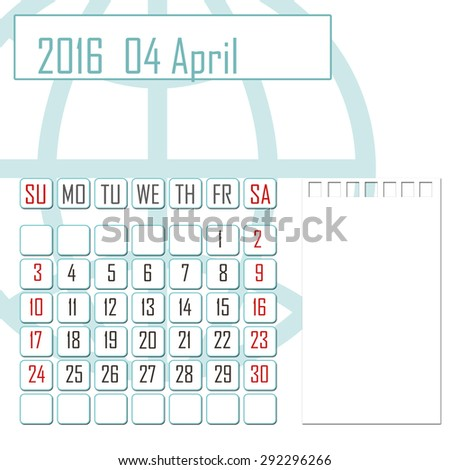 Abstract design 2016 calendar with note space for april month - stock photo