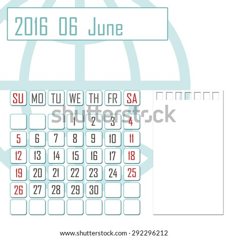Abstract design 2016 calendar with note space for june month - stock photo