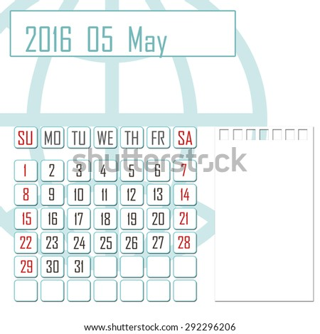 Abstract design 2016 calendar with note space for may month - stock photo