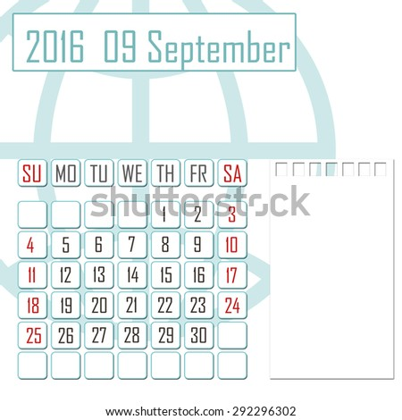 Abstract design 2016 calendar with note space for september month - stock photo