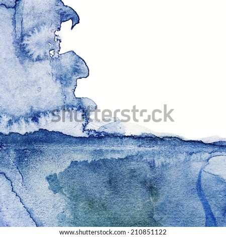 Abstract Design Creativity Background of watercolor hand painted  Blue Waves with paper texture - stock photo