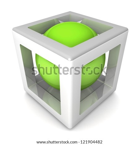 abstract design, 3d cube with sphere inside. - stock photo