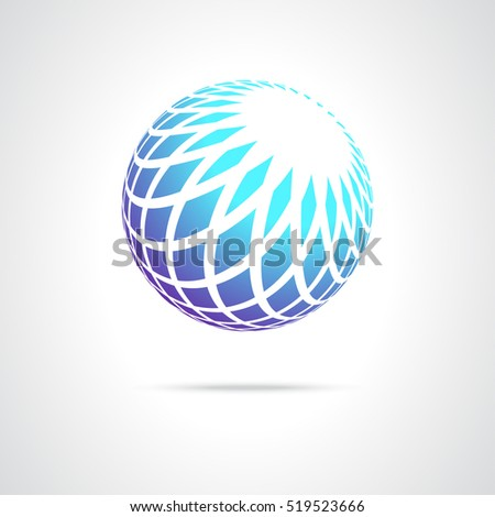 Abstract Design Icon Element, Blue Sphere on a White Background,