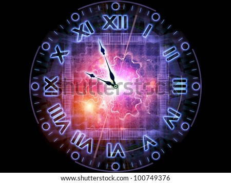 Abstract design made of clock hands, gears, lights and abstract design elements on the subject of time sensitive issues, deadlines, scheduling, temporal processes, past, present and future - stock photo