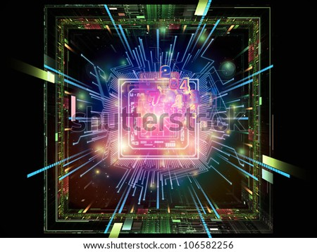 Abstract design made of CPU graphic and abstract design elements on the subject of digital equipment, computing and modern technologies