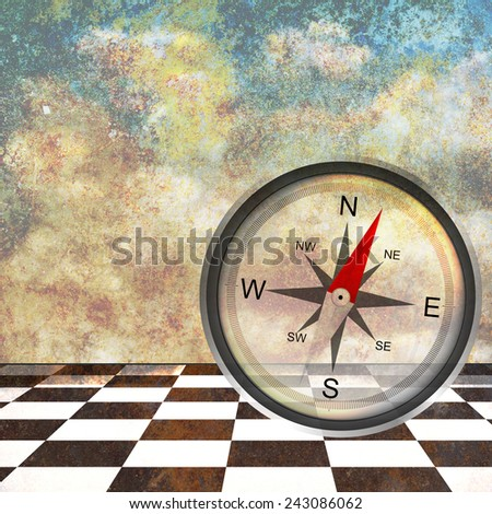 Abstract design made of dreamy background with compass - stock photo