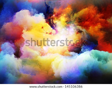 Abstract design made of dreamy forms and colors on the subject of dream, imagination, fantasy and abstract art - stock photo