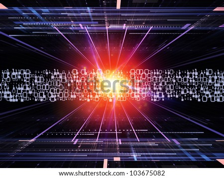 Abstract design made of fractal grids, lights  and technological elements on the subject of science, computing and modern technologies - stock photo