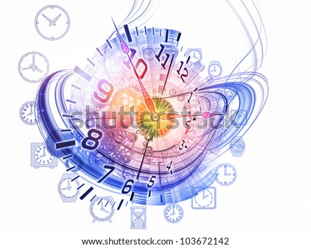 Abstract design made of gears, clock elements and abstract design elements on the subject of scheduling, temporal and time related processes, deadlines, progress, past, present and future - stock photo