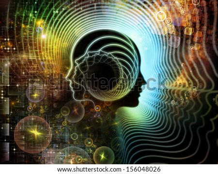 Abstract design made of human feature lines and symbolic elements on the subject of human mind, consciousness, imagination, science and creativity