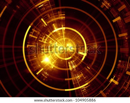 Abstract design made of lights, fractal concentric grids, technological lines on the subject of science, energy, signal processing  and modern technologies