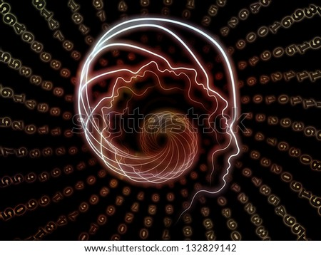 Abstract design made of lines of human head and numbers on the subject of artificial intelligence, science, education and technology