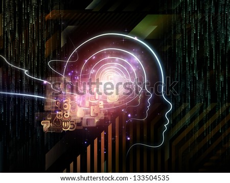 Abstract design made of outlines of human head, technological and fractal elements on the subject of artificial intelligence, computer science and future technologies