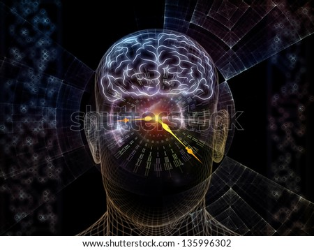 Abstract design made of outlines of human head, technological and fractal elements on the subject of artificial intelligence, computer science and future technologies - stock photo