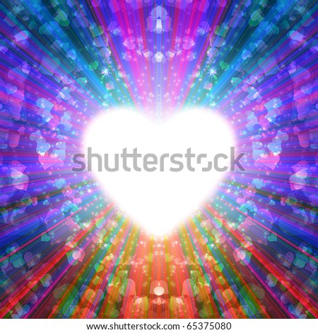 abstract design of multi-colored rays emanating from the radiant heart - stock photo