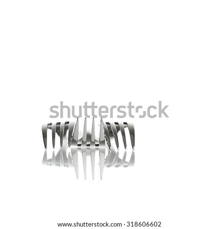 Abstract design of shiny metal fork utensils on clean white background. - stock photo