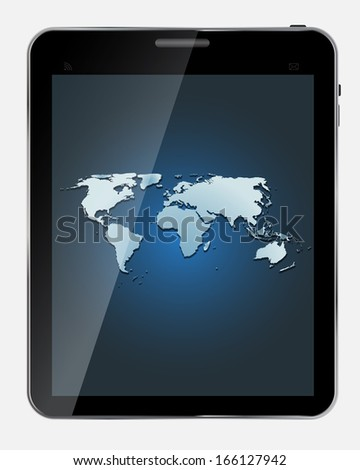 Abstract design  realistic tablet with world map screen isolated on white background..  illustration