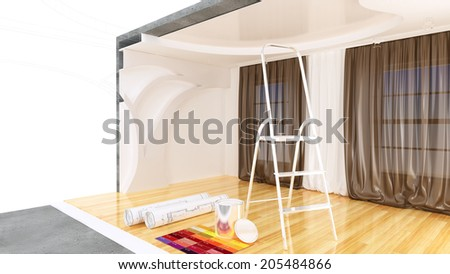 abstract design sketch of room interior. plan drawing - stock photo