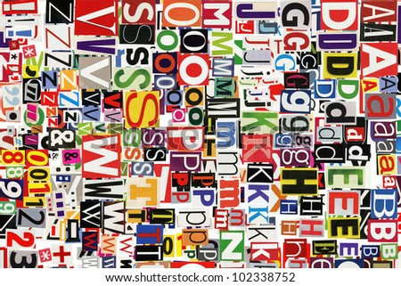 Abstract designed background of newspaper letters clippings
