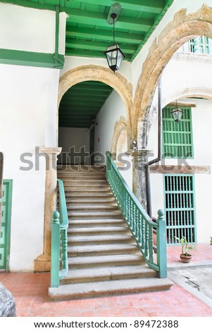 Abstract detail of rustic stairs in Old havana building interior, Cuba - stock photo
